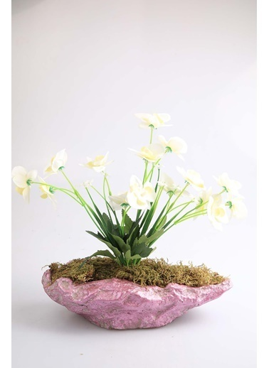 Kibrithane Çiçek Yapay Çiçek Beton Saksı Mini Beyaz Kumaş Orkide Kc00200799 Renkli